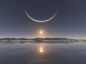 the sunset at the North Pole with the moon at its closest point