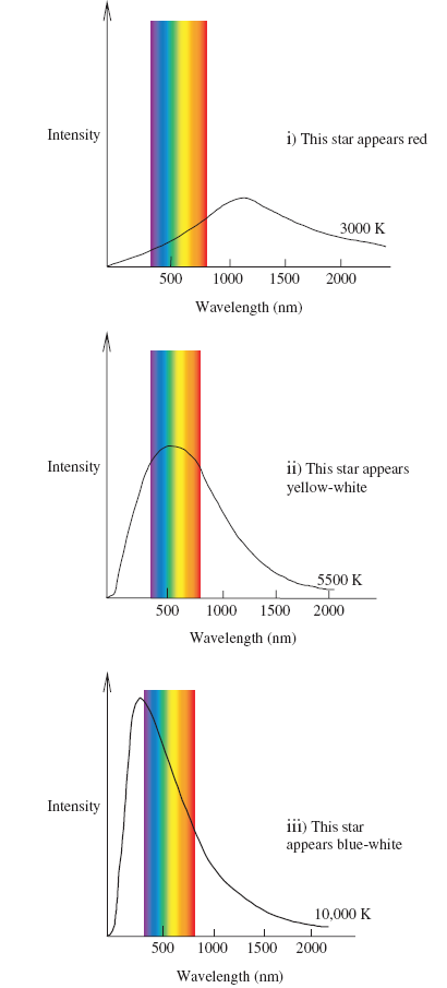 Stars emit their peak energy at different wavelengths depending on their surface temperature (shown in the Kelvin scale). The hotter the star is, the bigger the area under the curve (therefore putting out more energy in its photons) and the peak energy shifts to the left towards the ultraviolet. Lower energy stars emit less energy, and peak towards the right.